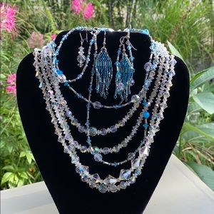 Crystal glass jewelry bundle blue and clear